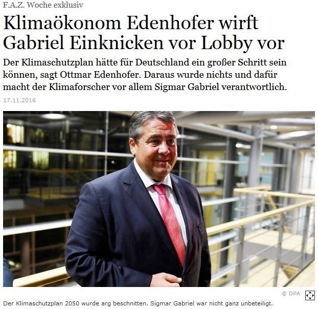 Gabriel Einknicken vor Lobby