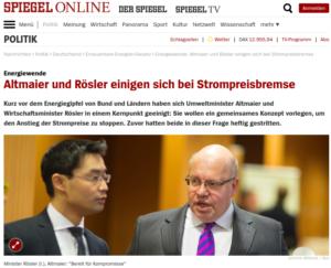 Altmaier/Rösler - Strompreisbremse