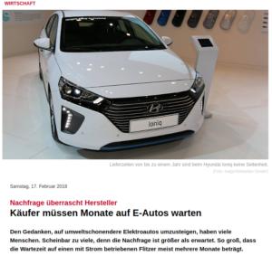 Lange Wartezeiten bei eAutos - Screenshot NTV-17-02.2018