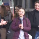 Greta Thunberg mit anderen jungen Klimaaktivisten in Brüssel 21.02.2019