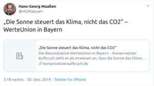 Hans-Georg Maaßen, ehemaliger Präsident des Bundesamtes für Verfassungsschutz beim Klimaleugnen.