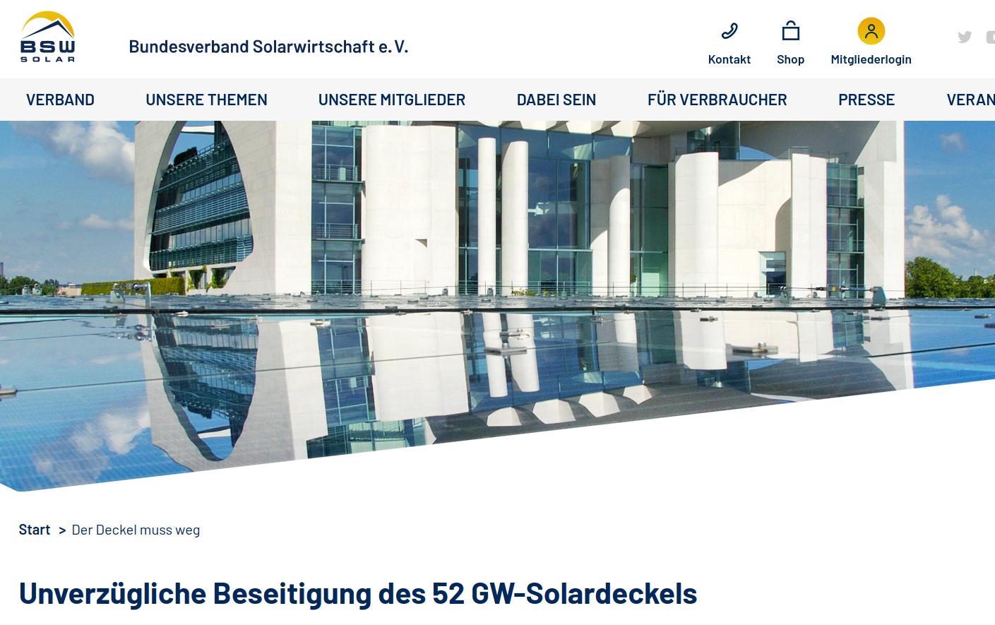 Unverzügliche Beseitigung des 52 GW-Solardeckels BSW-Solar