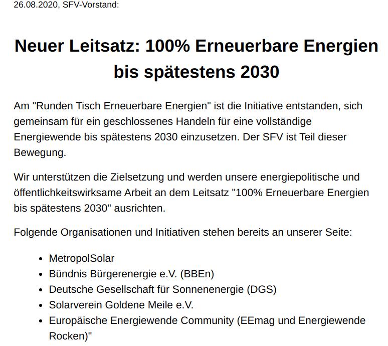 Neuer Leitsatz: 100% Erneuerbare Energien bis spätestens 2030