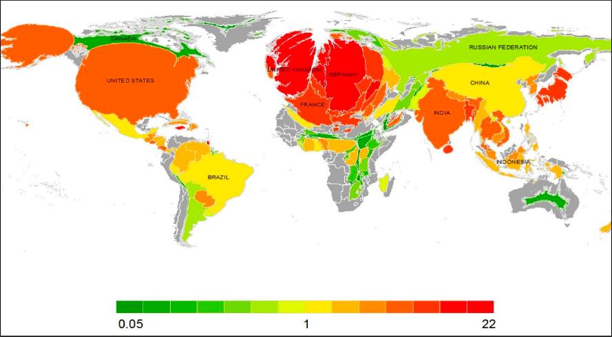Aufgeblähte Länder: Größe der Staaten gemessen an ihrem historischen Beitrag zur Erwärmung.