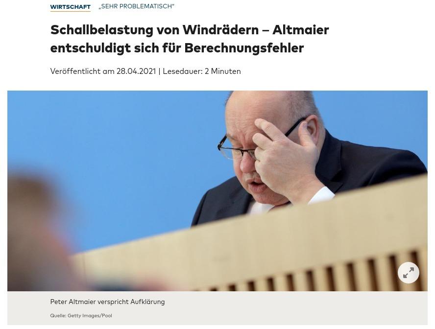 Altmaier entschuldigt sich für Rechenfehler beim Infraschall für Windkraftanlagen